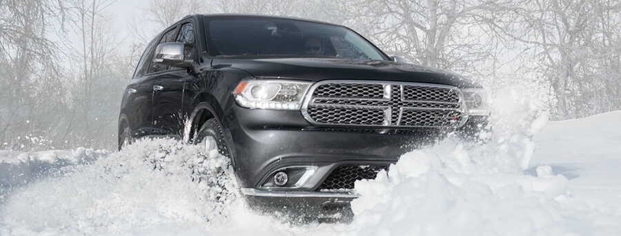 2016 Dodge Durango driving through snow