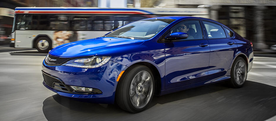 2016 Chrysler 200 blue exterior model on the road