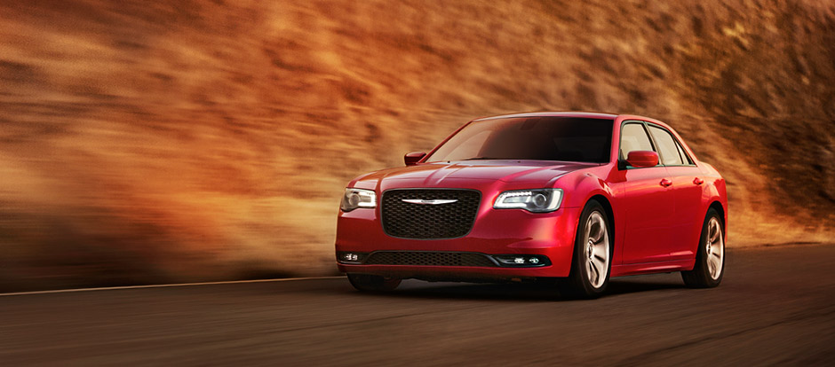 2016 Chrysler 300 model on the road