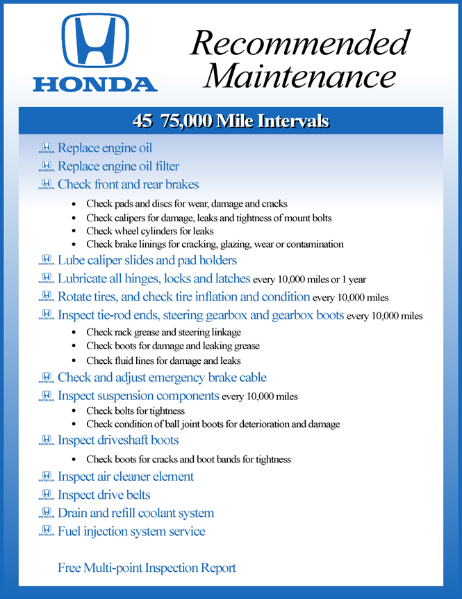 Honda Recommended Maintenance 30 60 90
