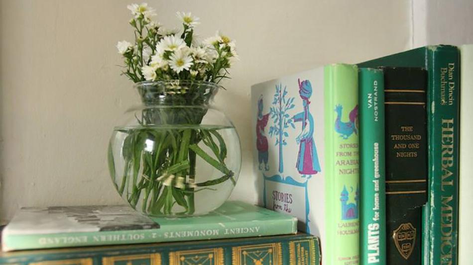 Vaseand books