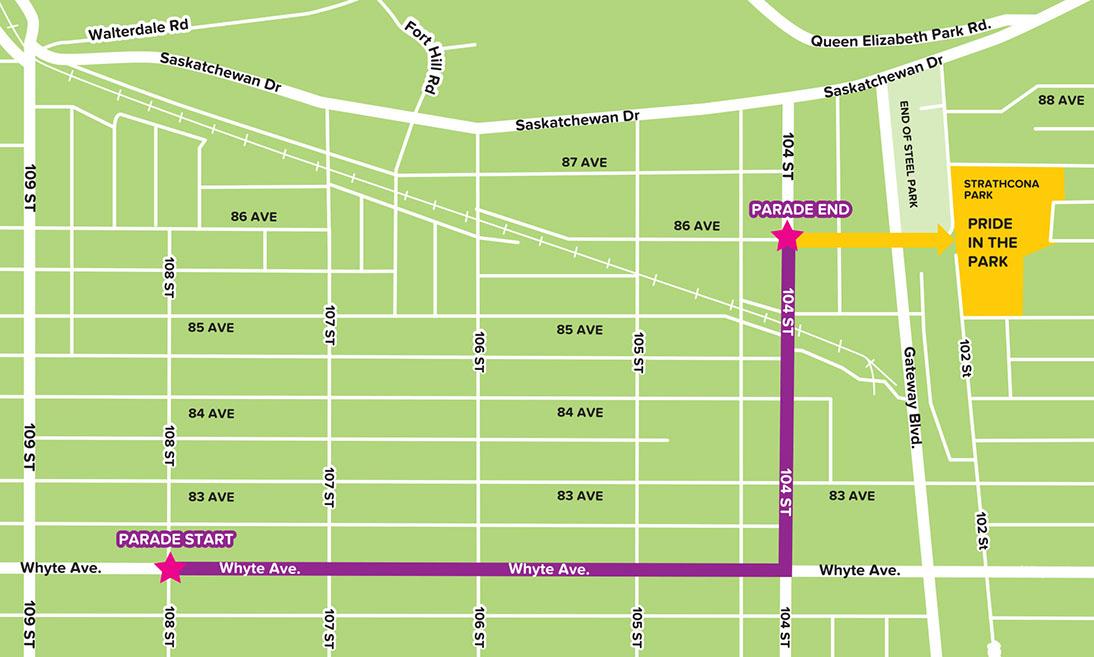 Edmonton Pride Parade Map