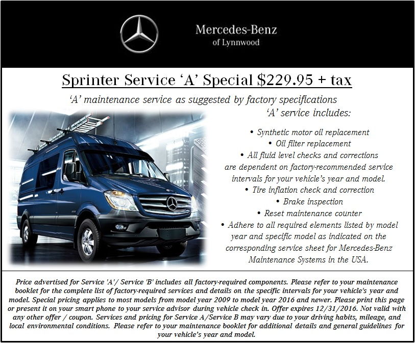 Auto service specials near everett mercedes benz of lynnwood for Mercedes benz maintenance schedule