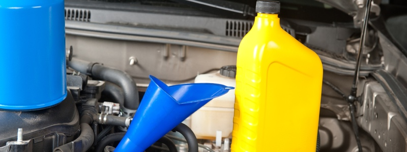 Changing Oil With Blue Funnel