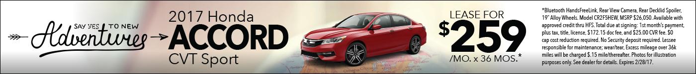 Lease Honda Accord sport $259/mo