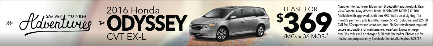 Lease Honda Odyssey $369:mo