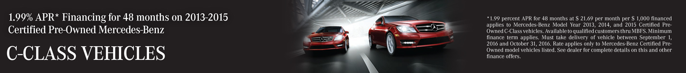 1.99% APR Financing on Certified C-Class models