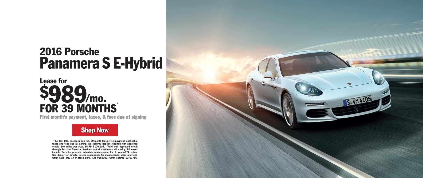 2016 Panamera S E-Hybrid Lease $989 / mo