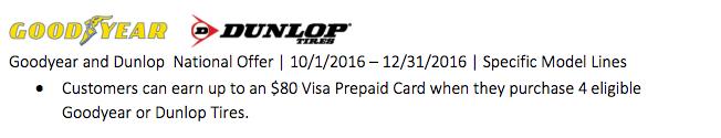 Goodyear and Dunlop Nov & Dec Offer